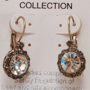Sparkling Lever Back CZ Diamond Dangle Earrings